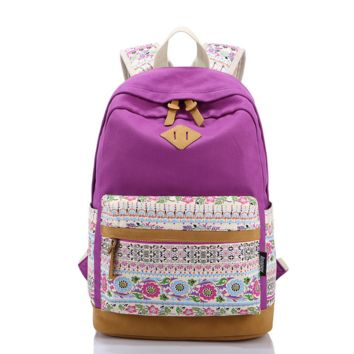 Lightweight Canvas Laptop Casual Backpack Cute School Bag
