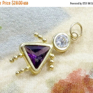 AmETHyST 14k ChARm GiRL yELLoW GOLd PeNDAnT February Birthstone Solid Gold Daughter Charming for Mom, Gramma, for Charm Holder Pendant