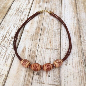 Wood Bead Necklace Brown Leather Necklace Leather Beaded Necklace Leather Boho Necklace Large Bead Minimalist Necklace Gift Under 25 For Her