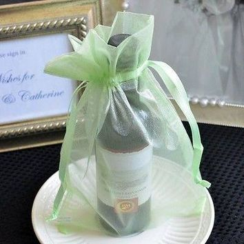 10 Large Mint Green Organza Favor Pouches Wedding Gift Bags, Potpourri Candy