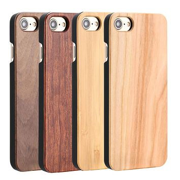 Real Wood Case For iphone 7 6 6S Plus 5 5S SE Cover High Quality Durable Natural Rosewood Bamboo Walnut Wooden Hard Phone Cases
