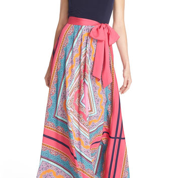 Scarf Print Jersey & Crêpe de Chine Maxi Dress (Regular & Petite)