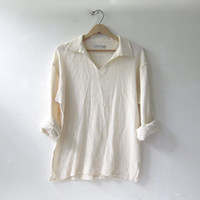 vintage cotton gauze pullover shirt. natural white shirt. long sleeve top. collared pullover shirt.