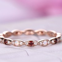 Opal/Garnet Diamond Wedding Band Eternity Anniversary Ring 14K Rose Gold