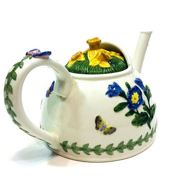 Portmeirion Majolica Teapot, Countertop Collection Watering Can, Spring Flowers, Daffodil Morning Glories, Butterflies, Vintage China
