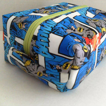 Large Batman Boxy Make Up / Toiletry Bag / Zipper Pouch