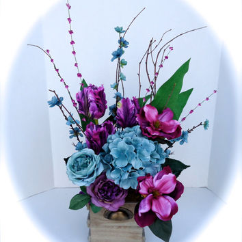 "Silk Floral Arrangement ""Purple Paradise"", Table Arrangement, Centerpiece, Summer, Gift, Purple, Teal, Roses, Housewarming, Home Decor"