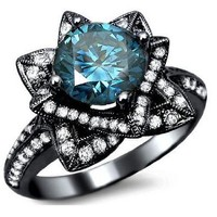 2.03ct Blue Round Diamond Lotus Flower Engagement Ring 14k Black Gold With a 1.08ct Center Diamond and .95ct of Surrounding Diamonds: Jewelry