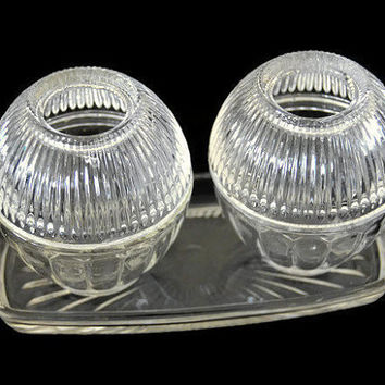 Vintage Votive Candle Holders Set with Tray 2 Clear Glass Unmarked Pair Vanity Set 2 Pieces Clear Votive Cups Pair