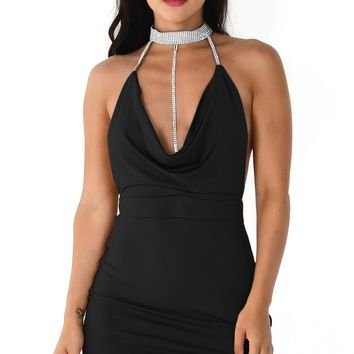 Get His Attention Black Sleeveless Spaghetti Strap Rhinestone Collar Drape V Neck Halter Cut Out Side Bodycon Mini Dress