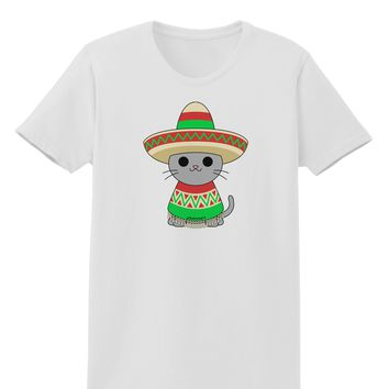 Cat with Sombrero and Poncho Womens T-Shirt by TooLoud