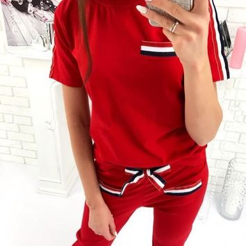 Red Pockets 2-in-1 Bow Elastic Waist Sports Long Jumpsuit