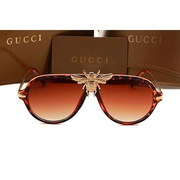 """Gucci""Personality Fashion Logo Bee All-match Big Mental Frame Frog Mirror Sunglasses Glasses"