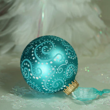 Bold, Eye-catching Swirls with Dots, Hand Painted Glass Christmas Ornament, Soft Aquamarine with White- Great Gift