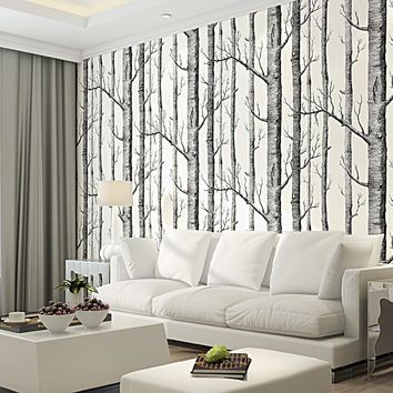 Colomac 3D Black White Birch Tree Pattern Wallpaper Wood Modern Design Wall paper For Bedroom Living Room Wall Paper Roll