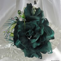 Green Hair Flower, Wedding Hair Rose, Rose Bridal Clip