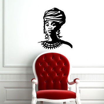 AFRO WOMAN LADY PEOPLE WALL VINYL STICKER  DECALS ART MURAL D2107