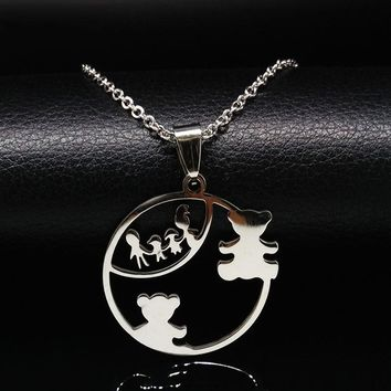 MAMA Bear Stainless Steel Necklaces Women Silver Color Bear Choker Necklace Mother/Kids Christmas Gifts Jewelry collares mujer