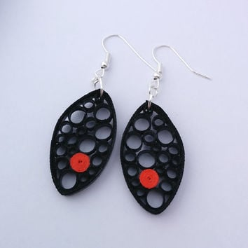 Black paper quilled earrings, circle earrings, black earrings, oval black and red paper earrings