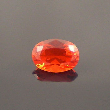 Fire Opal: 0.82ct Cherry Red Oval Shape Gemstone, Loose Natural Hand Made Mexican Faceted Precious Gem, OOAK Cut Crystal Jewelry Supply O18