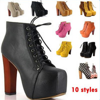 10 Style Lita Platform Thick High Heels Lace Up Fashion Women Ladies Autumn Brand Leather Boots Vintage Ankle Shoes for 2016 New