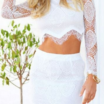 Lacy neri two-piece long-sleeved high-grade dress