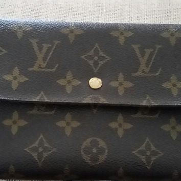 Louis Vuitton LV Large Trifold Monogram Clutch Wallet Organizer AN0932