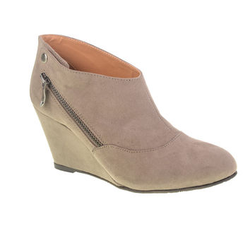 CL By Laundry Valerie Versatile Suede Wedge Ankle Bootie (Taupe)