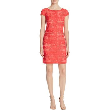 Laundry by Shelli Segal Womens Embroidered Cap Sleeve Party Dress