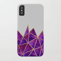Purple & Gold Geometric iPhone Case by Tanyadraws