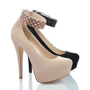 Realove56 Nude Iks By Anne Michelle, Pointy Toe Rhinestone Stud Ankle Cuff Platform Stiletto Pumps