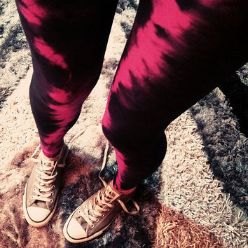 Red Striped Tie Dye Leggings Hand Dyed printed womens yoga leggings pants fall fashion