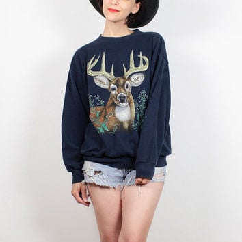 Vintage 90s Sweatshirt Navy Blue DEER Stag Animal Print Sweatshirt 1990s Sweater Soft Grunge Nature Tshirt Hipster Pullover M L Large XL
