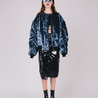 Velvet Bomber Jacket | Blue