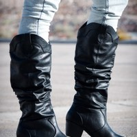ForeverLink Western-01 Black Crinkle Knee High Boots (Black) - Shoes 4 U Las Vegas