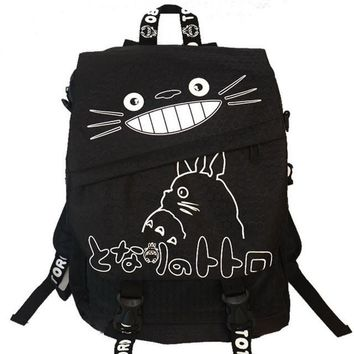 Totoro Black Anime Backpack School Bag
