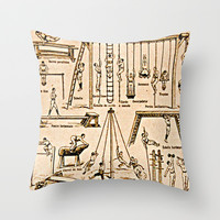 Exercise Poster - vintage French Gym Throw Pillow by Susan Najarian Design