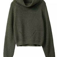 Army Green High Roll Neck Cropped Knitted Sweater