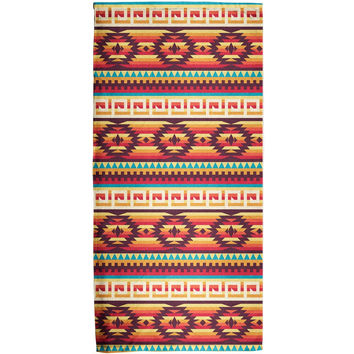 Native American Pattern Red All Over Bath Towel