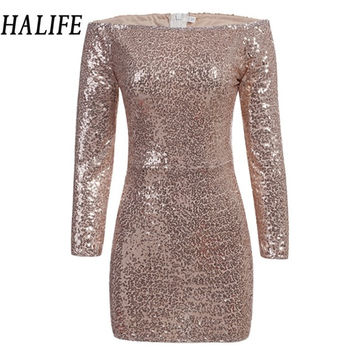 2017 Women Off Shoulder Dress Slash Neck Back Zipper Mesh Robe Sexy Long Sleeve Sequined Mini Pencil Club Party Dresses 0105