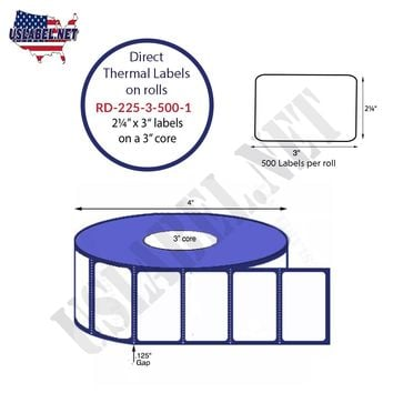 2.25'' x 3'' Premium Direct Thermal 500 Labels - 4'' O.D. on 1'' core 6,000 labels.