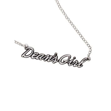Licensed cool Supernatural Dean's Girl Script Nameplate Necklace Silver Tone NEW