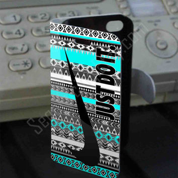Just do it nebula aztec mint Leather Folio Case for iPhone and Samsung Galaxy