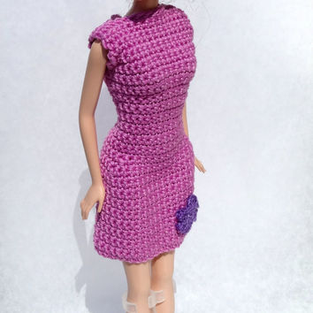 Hand Crocheted Clothes for Barbie - Purple or Pink Barbie Dress, Custom Order Fashion Doll Outfit, Kid's Party Favor
