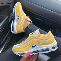 Nike Air Max 97 Fashion Women Men Casual Air Cushion Sport Running Shoes Sneakers Yellow