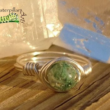 Moss Agate Ring Wire Wrapped - Made to Order - Silver Plated Copper