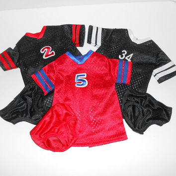 American Girl Doll Clothes 3 Football Jersey Nightgowns Lot Black and Red with Panties