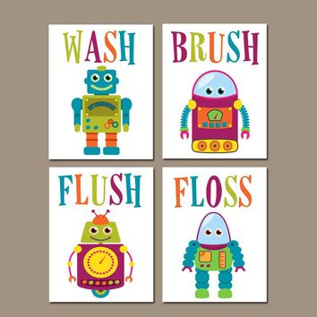 ROBOT Bathroom Wall Art, Robot Bath Art, Kid Bathroom, Outer Space Theme Decor, Wash Brush Flush Floss Rules Canvas or Prints Set of 4