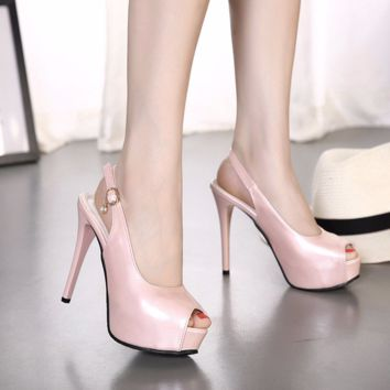 Cute Stylish Peep Toe Slingback High Heels