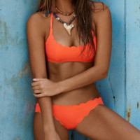 HOT CUTE TWO PIECE FLOWER SCALLOPED ORANGE BIKINIS SWIMWEAR edge scalloped pure black two piece bikini vest type